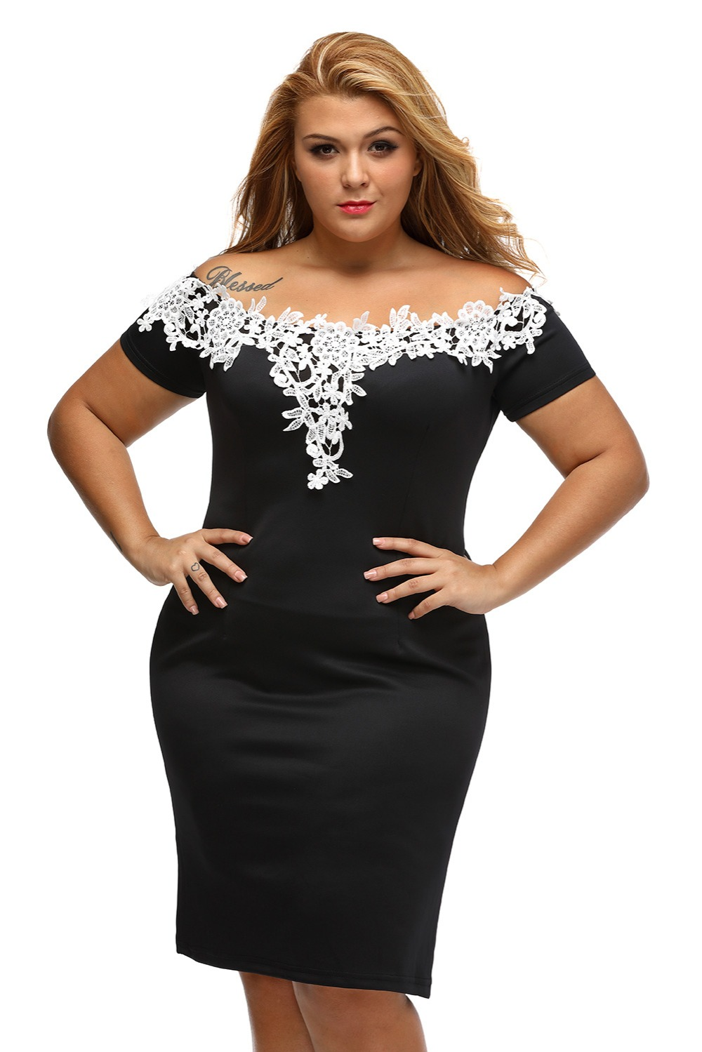 c01f01b87b6 Gosopin Elegant Ladies Sexy Short Sleeve Lace Crochet Off Shoulder Black  Plus Size Pencil Dress Party Vestidos robe LC61083