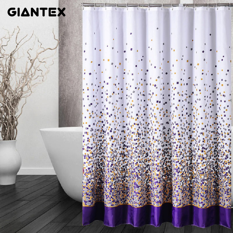 GIANTEX Sporadic Block Pattern Polyester Bathroom Waterproof Shower Curtains With Plastic Hooks U1027