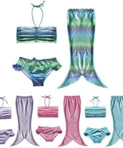Children Mermaid Tail Costume For Girls Swimming Kids Cosplay Tails Fancy Dress Swim Baby Bikini Set Sexy Bathing Suit Swimmable