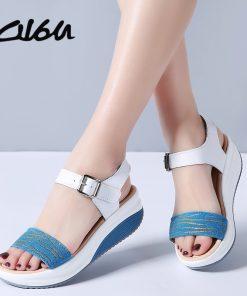 O16U Summer Women Sandals Shoes Strap Leather Leopard Casual sandals Ladies Buckle Basic Flat Platform Women Comfortable Shoes