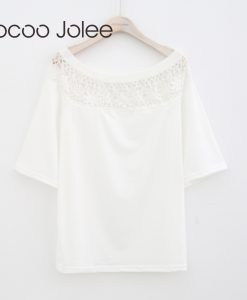 Jocoo Jolee Women Over sized Lace Design Women White Elegant Lace Tops Hollow Out Floral O-Neck Batwing Sleeves Sexy T-Shirt  1