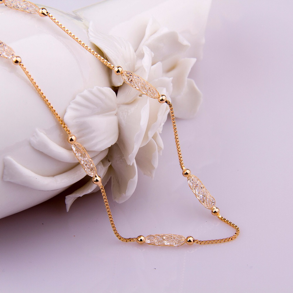 BAMOER Luxury Champagne Gold Color Chain Necklace Zircon Crystal Necklace Women Fashion Jewelry Birthday Present JSN047 1