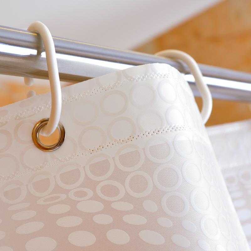 GIANTEX White Ball Pattern PEVA Bathroom Waterproof Shower Curtains With Plastic Hooks U1096 1