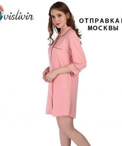 Vislivin  New Arrivals Modal Cotton Nightgowns Soft Home Dress Sexy Nightwear Women Sleepwear Solid Sleep Lounge  1