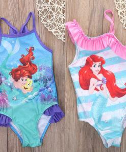 Hirigin 2017 Girls Swimwear Mermaid Princess One Pieces Swimsuit Kids Ruffled Swimming Suit For Girl Children Bathing Suit