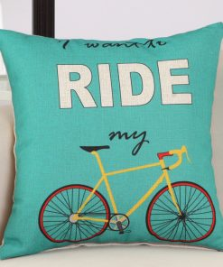 GIANTEX Bike Pattern Linen Cushion Cover Decorative Pillowcase Home Decor Sofa Throw Pillow Cover 45x45cm U1440 1