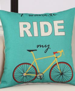 GIANTEX Bike Pattern Linen Cushion Cover Decorative Pillowcase Home Decor Sofa Throw Pillow Cover 45x45cm U1440 1
