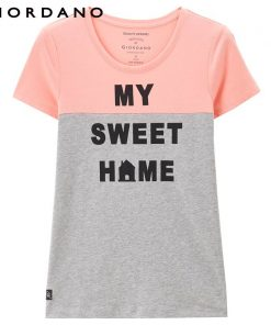 Giordano Women T-shirt Short Sleeves Stylish Cotton Tshirt Letter Pattern Prints Tees Eleglant Girls Fitting Brand Clothing 1