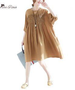 BelineRosa 2018 Women's Summer Dresses Casual Simple Style Women Clothing Pure Color Folding Big Sizes Dresses Women  XMR00058