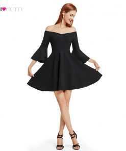 Ever Pretty 2017 New Fashion Women Cocktail Dress Black V-Neck Backless Flare Sleeve Unique Cocktail Dresses EP05883 1