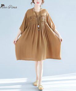 BelineRosa 2018 Women's Summer Dresses Casual Simple Style Women Clothing Pure Color Folding Big Sizes Dresses Women  XMR00058 1