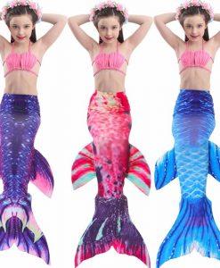 2018 children Bikini Set cosplay Mermaid Swimsuit Baby Girls Swimwear Colorful Bikinis Kid swimming Mermaid Tails