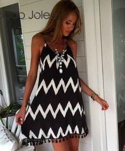 Jocoo Jolee Sexy Backless  Sprint Women Dress Empire Geometric Summer Party Dress Hem Tassel Design High Street Wears 2018 New  1