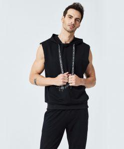 2018 Mens Sleeveless Hoodies Fashion Casual Hooded Sweatshirt Men bodybuilding Tank Top 2 Piece Sets Hip Hop waistcoat vest Tops 1