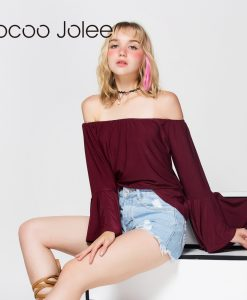 Jocoo Jolee Sexy Off Shoulder Butterfly Sleeve T-Shirt Autumn Women Long Sleeve Casual Loose Tops Tee Ladies Slash Neck Shirt