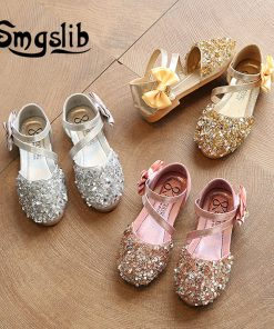 girls sandals Children Princess Glitter Sandals Kids Girls Dress Party Bowknot Shoes safty quality non-slip sandals for kids 1