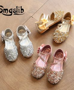 girls sandals Children Princess Glitter Sandals Kids Girls Dress Party Bowknot Shoes safty quality non-slip sandals for kids 1