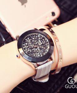 GUOU Women's Watches Luxury Rhinestone Diamond Watch Women Watches Genuine Leather Ladies Watch Clock saat relogio feminino gift 1