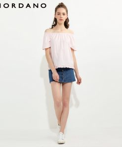 Giordano Women Blouse Oxford Raglan Sleeve Shirt Cotton Quality Womens Tops And Blouses Young Ruffle Hem Blusas Brand Summer 1
