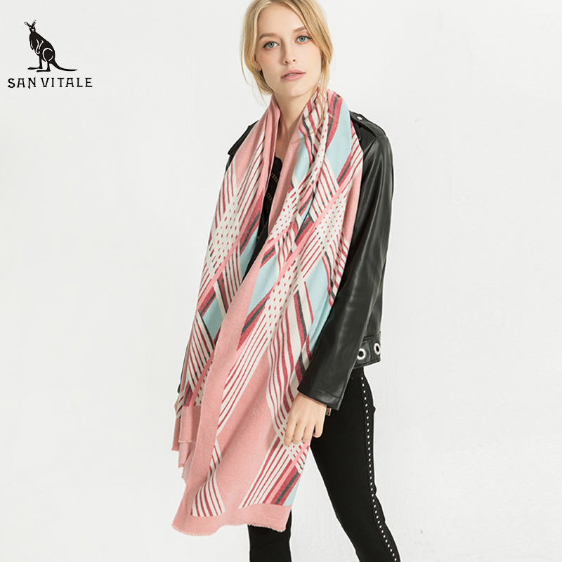 Scarves Women's Scarf Fashion Ponchos And Capes Wool Plaid Headband Pashmina For Dress Luxury Brand Silk Scarf Luxury Brand 2018