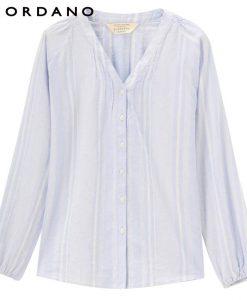 Giordano Women Blouse Women Solid V Neck Linen Cotton Blusas Puff Sleeve Shirt Elastic Cuffs Blusa Feminina Tops Shirt Women 1