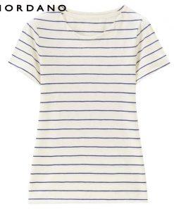 Giordano Women T Shirt Crewneck Quality Slub Cotton Solid Tee Stripes Short Sleeves T-shirt Women Printed Camiseta Feminina 1