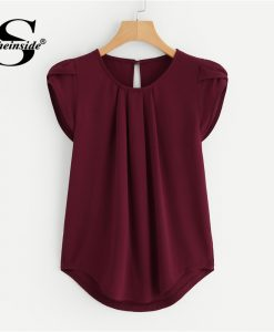 Sheinside Burgundy Asymmetrical Petal Sleeve Pleated Detail Blouse Solid Short Sleeve Top 2018 Summer Women OL Work Blouse