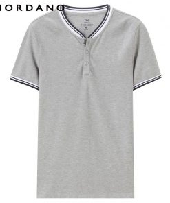 Giordano Men Tee Strips Henley Collar Short Sleeves T-shirt Solid Button Placket Tops Mens New Arrival 1