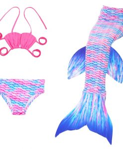 3PCS Kids For Girls Fin Mermaid Tail Biniki Set Monofin Swimmable Swimming Cosplay Costume 1