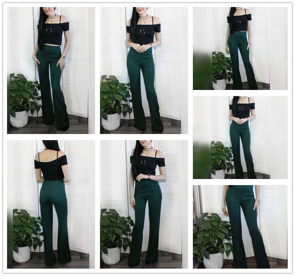 f542cb24b9 SHEIN High Rise Piped Dress Pants Army Green Elegant Pants Women Work Wear  High Waist Zipper