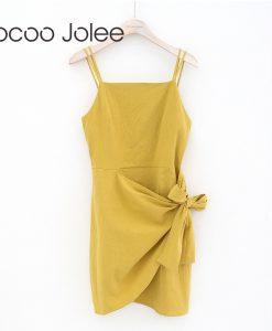 Jocoo Jolee Sexy Spaghetti Strap Beach Dressing for Women Asymmetrical High Waist Mini Dress with Bow Design Women Party Dress