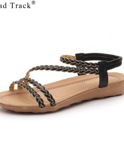 Road Track Woman Shoes Summer Braided Belt Shoes All-matching Flat With Sandals Comfortable Casual Beach Shoes XWA1000-5