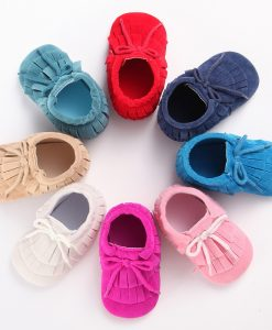 Wonbo PU Leather Baby Moccasins hand-made lace-up suede Baby Shoes tassel First Walker Chaussure Bebe newborn shoes 1