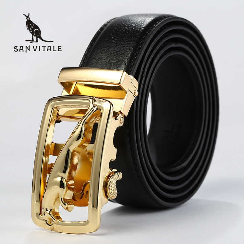 Men'S Belt Belts Genuine Leather Gift Waistband Suspenders Accessories Famous Brand Apparel Waist Man Black Stretch Buckles
