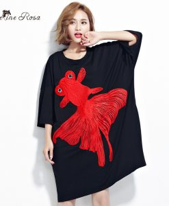 BelineRosa Plus Size Women Dresses 2017 Summer Embroidery Big Goldfish Big Size Tunic 4XL 5XL TYW00295 1