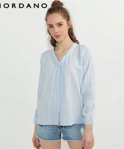 Giordano Women Blouse Women Solid V Neck Linen Cotton Blusas Puff Sleeve Shirt Elastic Cuffs Blusa Feminina Tops Shirt Women