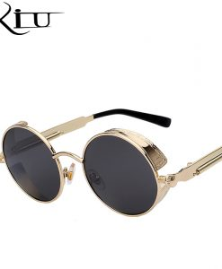 Round Metal Sunglasses Steampunk Men Women Fashion Glasses Brand Designer Retro Vintage Sunglasses UV400 1