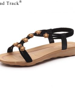 Road Track Summer Ladies Shoes Bohemian Beaded Sandals Flat With Comfortable Casual Women Shoes All-matching Sandals XWA1005-5