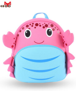 NOHOO Waterproof School Bags for Girls Cartoon Crab Fashion Printing Backpack Kids Orthopedic School Bag Child School Backpack