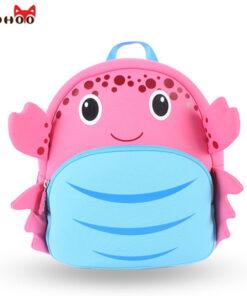 NOHOO Waterproof School Bags for Girls Cartoon Crab Fashion Printing Backpack Kids Orthopedic School Bag Child School Backpack