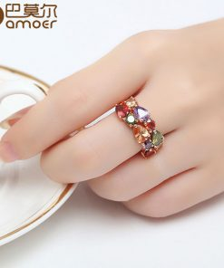 BAMOER Unique Design Rose Gold Color Mona Lisa Ring for Female Wedding with AAA Colorful Cubic Zircon Bijouterie JIR052 1