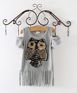 Sequins Owl Kids girls T shirt Short sleeve children t shirts for girl top clothes clothing Summer Spring 1