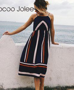 Jocoo Jolee Casual Striped Print Women Beach Dress with Spaghetti Strap Indie Folk Style  Summer Dress with O-Neck 2018 New 1