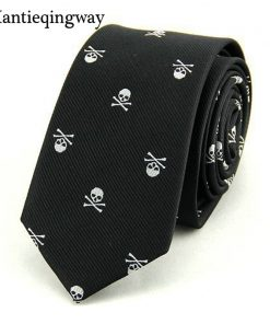 Mantieqingway Neck Ties for Men 6cm SKinny Polyester Silk Neckties Skull Print Business Neckwear Corbatas Wedding Suits Gravatas