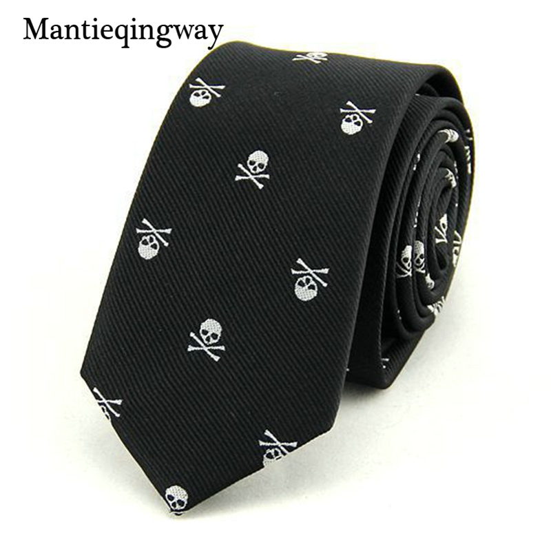 Mantieqingway Neck Ties for Men 6cm SKinny Polyester Silk Neckties Skull Print Business Neckwear Corbatas Wedding Suits Gravatas
