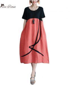BelineRosa 2018 Casual Women Tunic Dress Hit Color Summer Clothes for Women Plus Size Cotton T-shirt Dresses Female ZRK00063