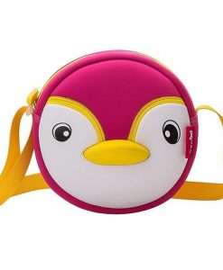 NOHOO High Quality Waterproof Animals Shoulder Bag 3D Penguin Printed Handbag Small Circular Cartoon Kids Baby Bags 1