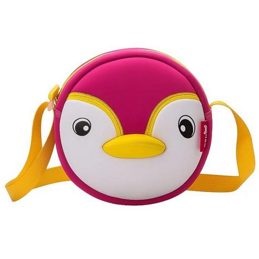 NOHOO High Quality Waterproof Animals Shoulder Bag 3D Penguin Printed Handbag Small Circular Cartoon Kids Baby Bags 1