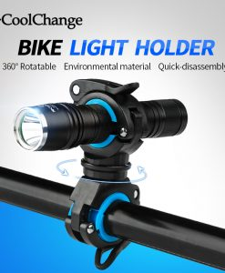 CoolChange Bike Cycling 360 Rotating Light Double Holder LED Front Flashlight Lamp Pump Handlebar Holder Bicycle Accessories 1