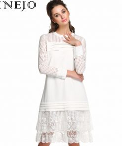 FINEJO Long Sleeve See-through Dresses Women Fashion Floral Lace Patchwork A-Line Dress White Embroidery Hollow Out Vestidos